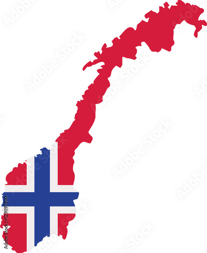 Norway map with flag Tablou Canvas