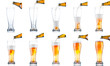 Set of beer pouring from bottle into glass isolated on white bac