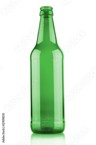 Empty beer bottle isolated on white background