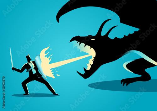 Photo  Businessman fighting a dragon
