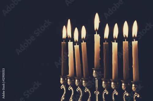 Photo  Low key Image of jewish holiday Hanukkah background