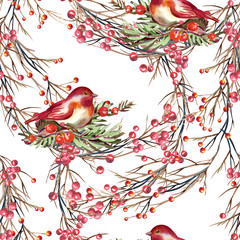Panel Szklany Owoce Seamless Pattern with Birds and Berries