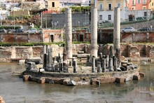 Archaeological Ruins Of The  Ancient Temple Of Serapide, Flooded By Water,  Pozzuoli, Naples, Italy