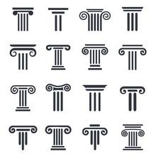 Black Column Icons. Ancient Co...