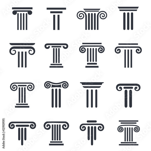 black column icons. Ancient columns vector icon set. Vector black column icons set on white background. Fototapete