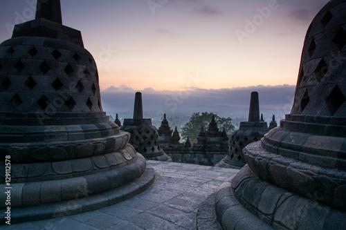 Foto op Plexiglas Bedehuis Sunrise at Borobudur Buddhist Temple, Java Island, Indonesia