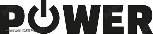 Slika na platnu Power word with power button