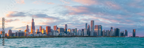 Poster Chicago Downtown chicago skyline at sunset