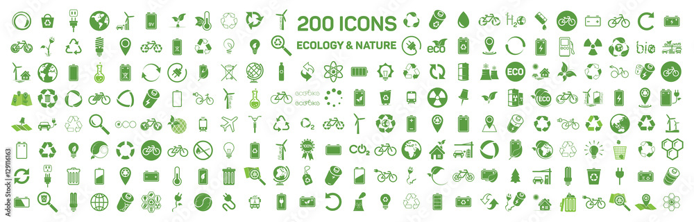 Fototapety, obrazy: 200 ecology & nature green icons set on white background. Vector
