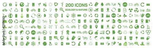 200 ecology & nature green icons set on white background. Vector