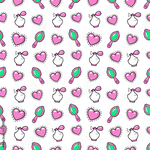 Cotton fabric Little Girl Princess Seamless Background with Pink Hearts, Perfume and Mirror. Vector Pattern
