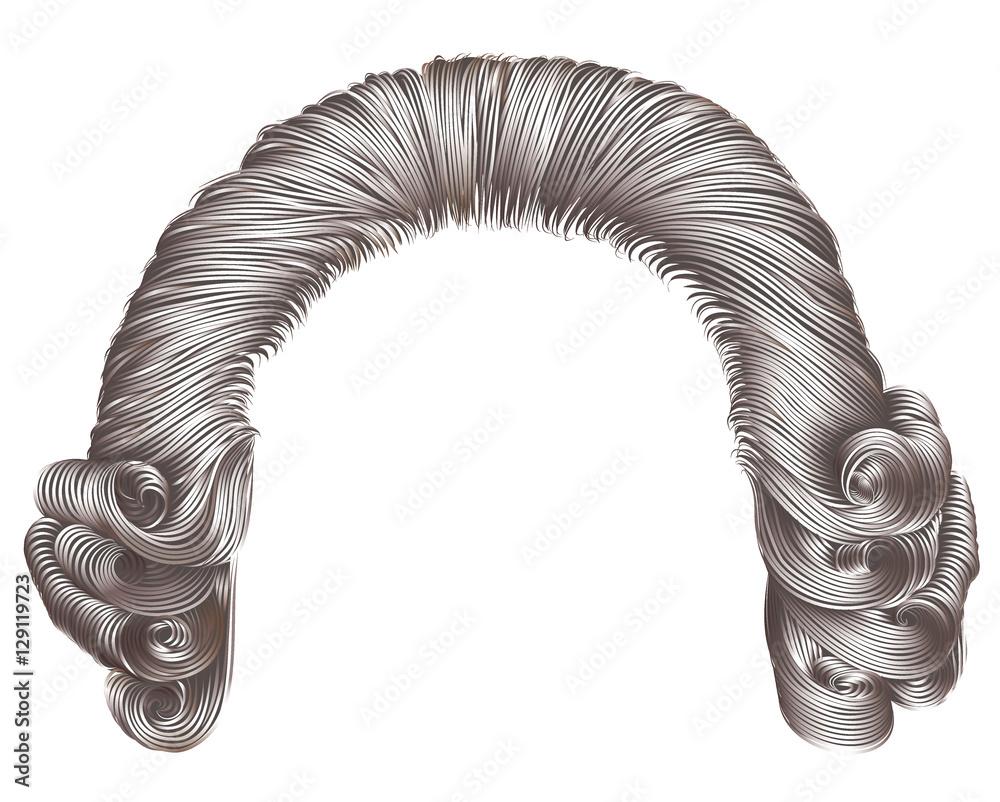 Fototapeta man wig gray hair curls. medieval style rococo
