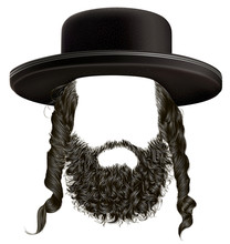 Black  Hair Sidelocks With Beard . Mask Wig Jew Hassid In Hat