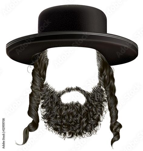 Fototapeta black  hair sidelocks with beard . mask wig jew hassid in hat  obraz