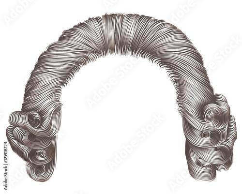Carta da parati man wig gray hair curls. medieval style rococo