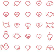 CONCEPTUAL HEARTS Red Line Icons