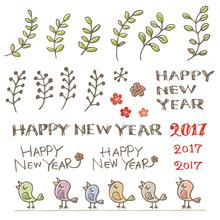 小鳥と賀詞、酉年 年賀状素材