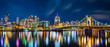 Pittsburgh downtown skyline panorama by night viewed from Allegheny Landing, between Roberto Clemente and Andy Warhol bridges
