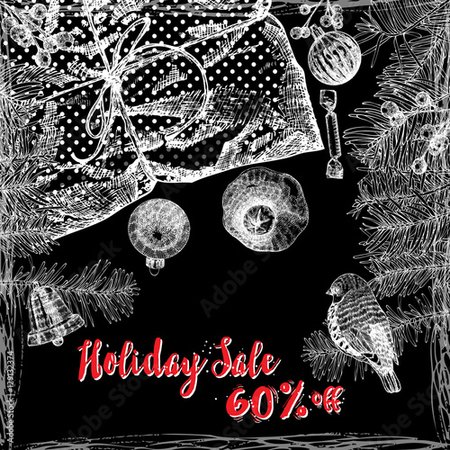 Holiday Sale 60% off, text design with handdrawn  typography and holiday frame on black background. For  banner, greeting card, gifts and shopping.