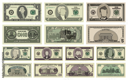 Fototapeta Vector cartoon dollar banknotes isolated on white background illustration. Every denomination of US currency note. Back sides of money bills obraz