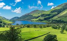 Der Wunderschöne Talyllyn Gletscher See In Nord Wales Im Sommer Bei Blauem Himmel Udn Grünem Gras