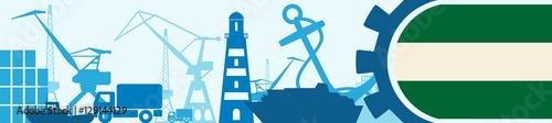 Staande foto Rotterdam Cargo port relative icons set. Rotterdam flag in gear. Vector illustration for web banner or header