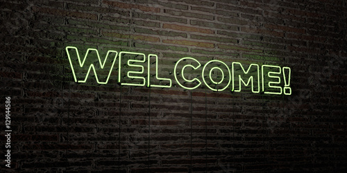 WELCOME! -Realistic Neon Sign on Brick Wall background - 3D rendered royalty free stock image Slika na platnu