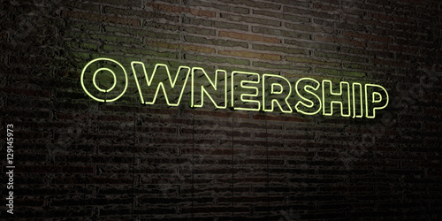 Fotografie, Obraz  OWNERSHIP -Realistic Neon Sign on Brick Wall background - 3D rendered royalty free stock image