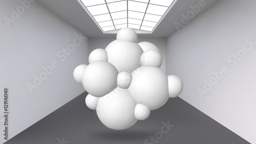 Fototapety, obrazy: Abstract Creative concept vector background of geometric shapes the lines connected to points in the large Studio room with window. Modern office. Realistic Vector Illustration eps 10 for your design.