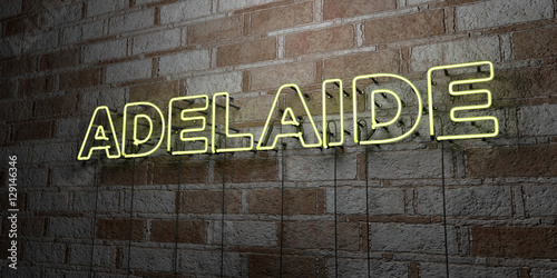 Photo ADELAIDE - Glowing Neon Sign on stonework wall - 3D rendered royalty free stock illustration