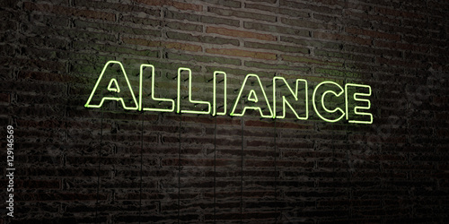 ALLIANCE -Realistic Neon Sign on Brick Wall background - 3D rendered royalty free stock image Poster
