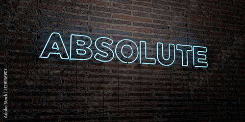 Photo ABSOLUTE -Realistic Neon Sign on Brick Wall background - 3D rendered royalty free stock image
