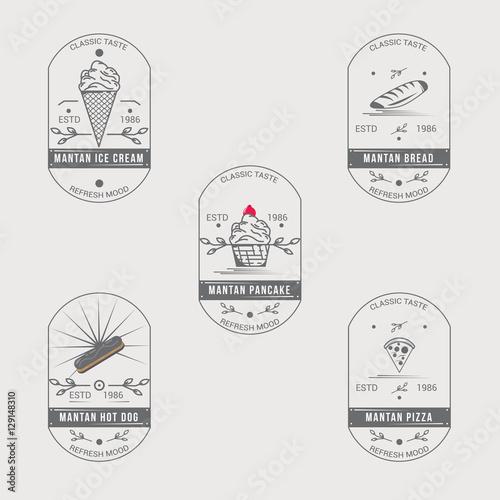 Fototapety, obrazy: Vintage Food Logo Badge set. Food retro logo.bundle. ice cream, hot dog, pizza, bread, pancakge logo badge