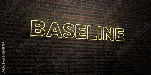 Photo  BASELINE -Realistic Neon Sign on Brick Wall background - 3D rendered royalty free stock image