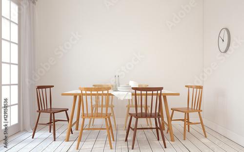 Fotografía  Dining-room interior.3d render.
