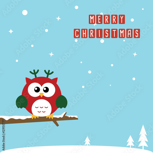 Poster Retro sign Cute Christmas Owls wearing Santa Claus hat standing on the branch. Flat design Vector illustration for Merry Christmas and Happy New Year invitation card on sky blue background.