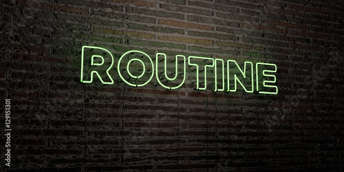 Photo  ROUTINE -Realistic Neon Sign on Brick Wall background - 3D rendered royalty free stock image