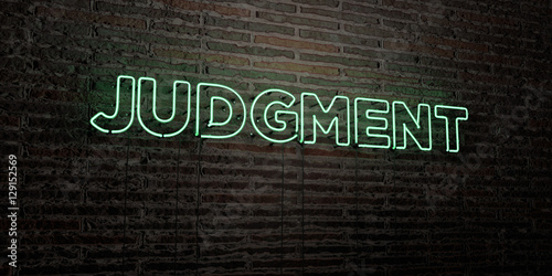 Photo JUDGMENT -Realistic Neon Sign on Brick Wall background - 3D rendered royalty free stock image