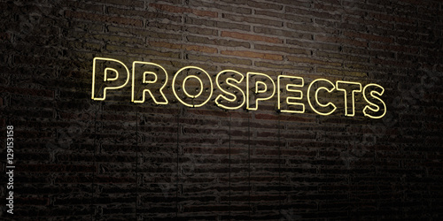 Fotografie, Obraz  PROSPECTS -Realistic Neon Sign on Brick Wall background - 3D rendered royalty free stock image