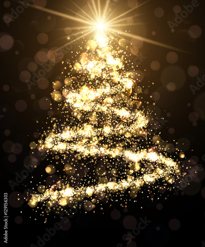 Leinwand Poster  Golden background with Christmas tree.