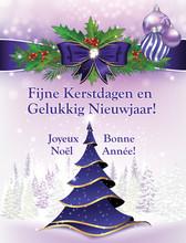 Bilingual Greeting Card:  Merry Christmas And Happy New Year (Fijne Kerstdagen En Gelukkig Nieuwjaar / Joyeux Noel Et Une Bonne Annee! ) - Dutch En French Language Greeting Card For Winter Holiday.