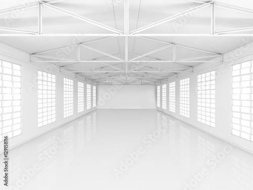 Staande foto Industrial geb. Big hall with windows on walls