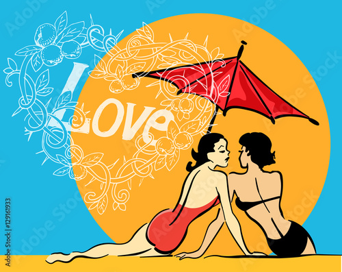 projekt-wektor-szablon-z-dwiema-plotkami-dziewczat-slonce-parasol-uwielbiam-doodle