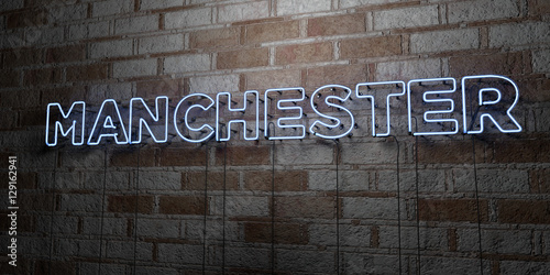 MANCHESTER - Glowing Neon Sign on stonework wall - 3D rendered royalty free stock illustration.  Can be used for online banner ads and direct mailers..