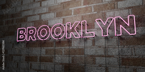 BROOKLYN - Glowing Neon Sign on stonework wall - 3D rendered royalty free stock illustration. Can be used for online banner ads and direct mailers..