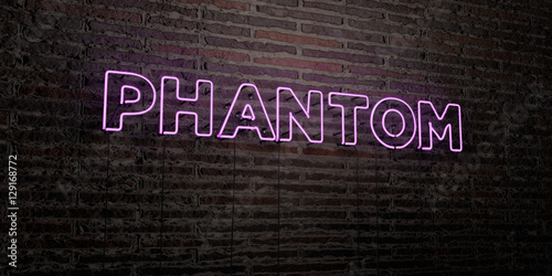 PHANTOM -Realistic Neon Sign on Brick Wall background - 3D rendered royalty free stock image Canvas Print