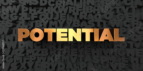 Fotografie, Obraz  Potential - Gold text on black background - 3D rendered royalty free stock picture