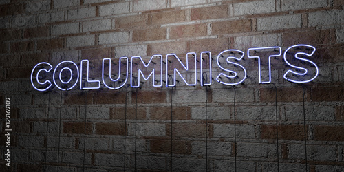 Valokuvatapetti COLUMNISTS - Glowing Neon Sign on stonework wall - 3D rendered royalty free stock illustration