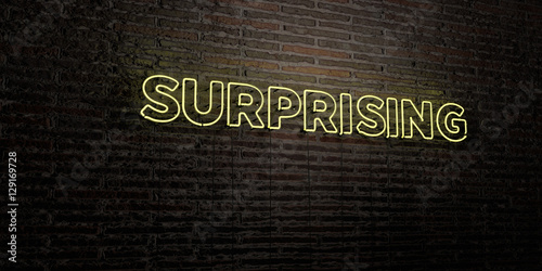 Valokuva  SURPRISING -Realistic Neon Sign on Brick Wall background - 3D rendered royalty free stock image