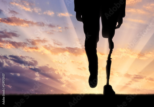 Fotografia  Leg with artificial limb